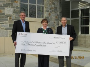 Pictured left to right: Jim Denham, President of Arthur Hall Insurance, Anne Hogan, Chief Executive Officer of the Girls Scouts of the Chesapeake Bay Council, Inc., and Glenn Burcham, Senior Vice President – Delaware Operations, Arthur Hall Insurance