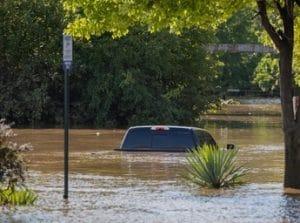 truck in flooded street